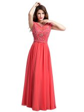 Unique Scoop Chiffon Cap Sleeves Floor Length Prom Party Dress and Beading
