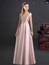 Off the Shoulder Floor Length Empire Cap Sleeves Pink Dama Dress for Quinceanera Zipper