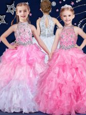 Wonderful Halter Top Sleeveless Beading and Ruffles Zipper Pageant Gowns For Girls