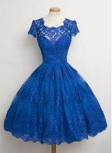 Artistic Square Cap Sleeves Lace Knee Length Zipper Evening Dress in Royal Blue with Lace