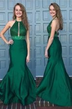 Comfortable Green Mermaid Satin Halter Top Sleeveless Beading and Lace With Train Backless Homecoming Dress Sweep Train