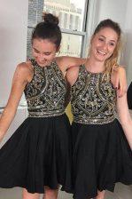 Classical Black A-line Chiffon Scoop Sleeveless Beading Mini Length Zipper Prom Dresses