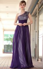 One Shoulder Sleeveless Beading and Appliques Side Zipper Prom Party Dress