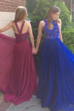 Chiffon Scoop Sleeveless Sweep Train Side Zipper Beading Dress for Prom in Royal Blue