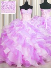 Fashionable Visible Boning Two Tone Sweetheart Sleeveless Organza Quinceanera Dress Beading and Ruffles Lace Up