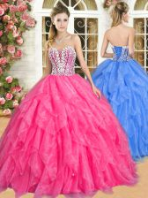 High Class Organza Sleeveless Floor Length Quinceanera Gowns and Beading and Ruffles