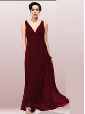 Burgundy V-neck Zipper Ruching Prom Evening Gown Sleeveless
