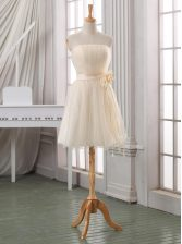 Hot Sale White and Champagne Strapless Neckline Belt and Hand Made Flower Prom Evening Gown Sleeveless Zipper