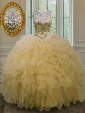 Glittering Scoop Beading and Ruffles Ball Gown Prom Dress Light Yellow Lace Up Sleeveless Floor Length