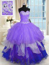 Sweetheart Sleeveless Vestidos de Quinceanera Floor Length Beading and Ruffles Multi-color Organza