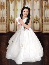 Amazing White Sleeveless Beading and Ruffles Floor Length Flower Girl Dress