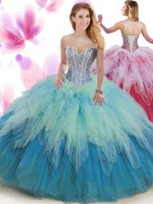 Wonderful Multi-color Ball Gowns Sweetheart Sleeveless Tulle Floor Length Lace Up Beading and Ruffles 15 Quinceanera Dress