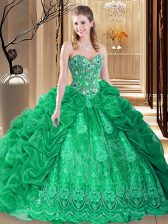 Edgy Green Sleeveless Court Train Embroidery and Pick Ups Sweet 16 Quinceanera Dress