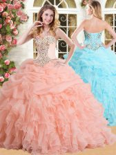 Sleeveless Floor Length Appliques and Ruffles and Pick Ups Lace Up Vestidos de Quinceanera with Peach
