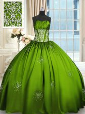 Taffeta Lace Up Strapless Sleeveless Floor Length Quinceanera Dress Beading and Appliques and Ruching