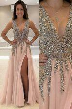 Luxury Champagne V-neck Neckline Beading Dress for Prom Sleeveless Backless