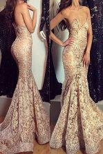 Mermaid Sweetheart Sleeveless Lace Dress for Prom Pleated Sweep Train Zipper