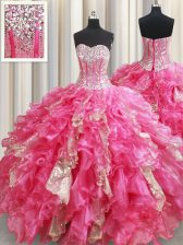 Deluxe Sequins Ball Gowns Sweet 16 Dresses Hot Pink Sweetheart Organza Sleeveless Floor Length Lace Up