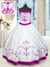 Edgy White Lace Up Strapless Beading and Embroidery and Belt Quinceanera Gown Satin Sleeveless