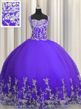 Inexpensive Beading and Appliques Sweet 16 Dresses Purple Lace Up Sleeveless Floor Length