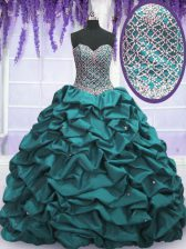 Custom Made Teal Lace Up Sweet 16 Quinceanera Dress Beading and Sequins and Pick Ups Sleeveless Floor Length