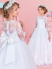 Scoop White Clasp Handle Flower Girl Dresses Lace and Bowknot and Belt 3 4 Length Sleeve With Brush Train