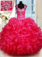 Glamorous Sweetheart Cap Sleeves Organza 15 Quinceanera Dress Beading and Ruffles Backless