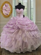 Clearance Lilac Ball Gowns Sweetheart Sleeveless Organza Floor Length Lace Up Beading and Ruffles Quinceanera Dresses