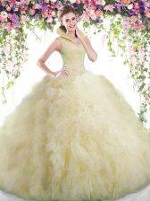 High-neck Sleeveless Backless 15 Quinceanera Dress Light Yellow Tulle