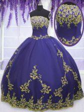 Purple Ball Gowns Appliques 15th Birthday Dress Zipper Tulle Sleeveless Floor Length