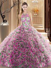Fantastic Multi-color Quince Ball Gowns Military Ball and Sweet 16 and Quinceanera with Ruffles and Pattern High-neck Sleeveless Brush Train Criss Cross