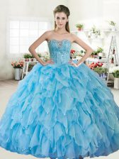 Beading Quinceanera Gowns Baby Blue Lace Up Sleeveless Floor Length