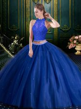 Blue Sleeveless Beading and Lace Floor Length Quinceanera Gowns