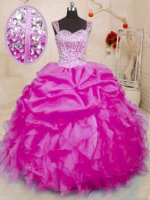 Fuchsia Ball Gowns Organza Straps Sleeveless Beading and Ruffles and Pick Ups Floor Length Lace Up 15 Quinceanera Dress