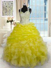 New Style Yellow Ball Gowns Beading and Ruffles Sweet 16 Quinceanera Dress Zipper Organza Sleeveless Floor Length