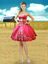 Smart Sleeveless Lace Up Mini Length Beading and Embroidery Homecoming Dress
