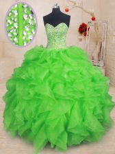 Captivating Sweetheart Sleeveless Organza Sweet 16 Quinceanera Dress Beading and Ruffles Lace Up