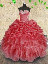 Coral Red Sleeveless Beading and Appliques and Ruffles and Ruching Floor Length Sweet 16 Dresses