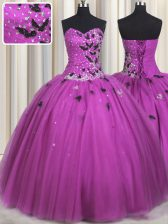 Tulle Sleeveless Floor Length Ball Gown Prom Dress and Beading and Appliques