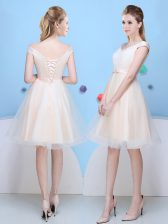 Classical Champagne Cap Sleeves Bowknot Knee Length Dama Dress