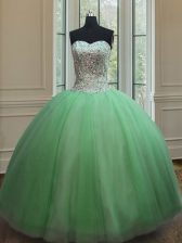 Most Popular Lace Up Sweetheart Beading Sweet 16 Dress Tulle Sleeveless