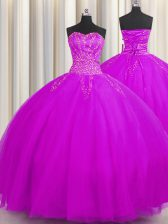 Shining Really Puffy Sweetheart Sleeveless Lace Up Sweet 16 Quinceanera Dress Lilac Tulle