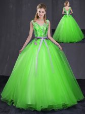 Floor Length Quinceanera Dresses Tulle Sleeveless Appliques and Belt