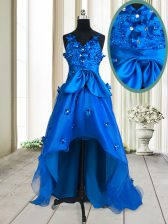 Royal Blue V-neck Zipper Beading and Appliques and Bowknot Prom Party Dress Sleeveless