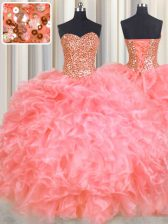 Nice Halter Top Sleeveless Beading and Ruffles Lace Up Vestidos de Quinceanera