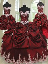 Four Piece Wine Red Lace Up Quinceanera Gowns Beading and Appliques and Pick Ups Sleeveless Floor Length