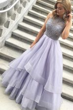 Clearance Scoop Organza Sleeveless Floor Length Prom Dress and Beading