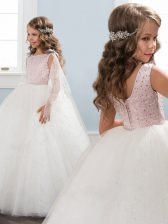 Scoop White Zipper Toddler Flower Girl Dress Beading Sleeveless Floor Length