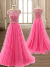 Affordable Scoop Rose Pink Cap Sleeves Beading Zipper Prom Evening Gown