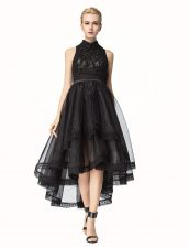 Tulle Sleeveless Asymmetrical Prom Dress and Lace